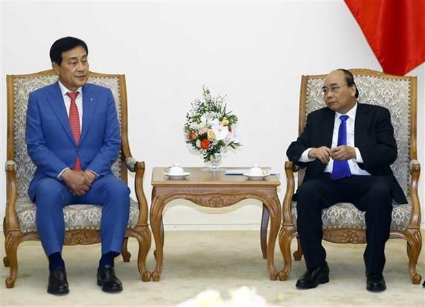Le PM recoit le president du groupe financier sud-coreen Hana hinh anh 1