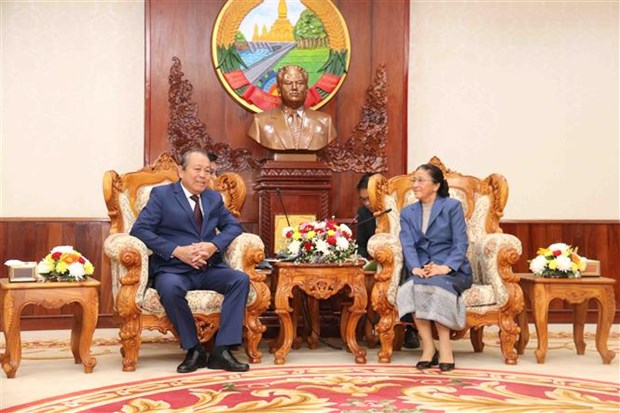 Le vice-Premier ministre Truong Hoa Binh en visite de travail au Laos hinh anh 1
