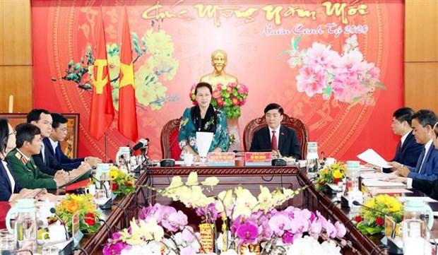 La presidente de l'Assemblee nationale travaille avec des autorites de Dak Lak hinh anh 1
