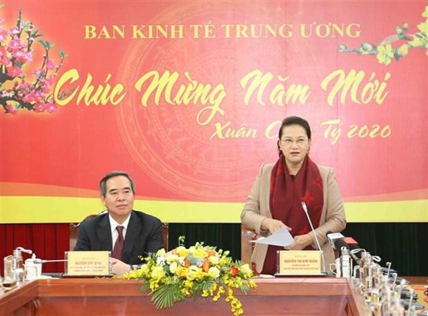 La presidente de l'AN travaille avec la Commission economique du CC du Parti hinh anh 1