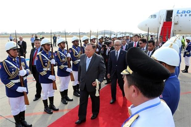 Le secretaire general du PPRL et president du Laos entame une visite d'Etat au Cambodge hinh anh 1