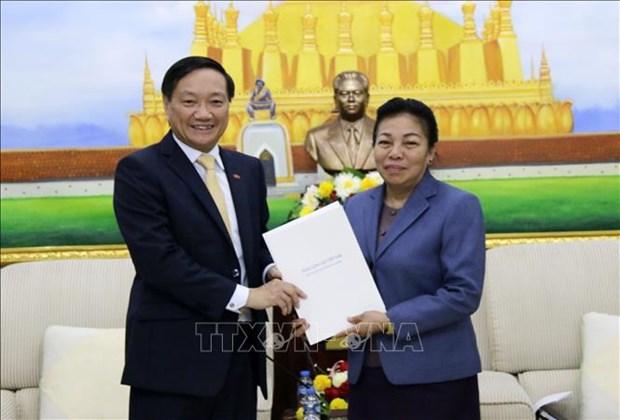 Felicitations des 65 ans de la naissance du Parti populaire revolutionnaire lao hinh anh 1