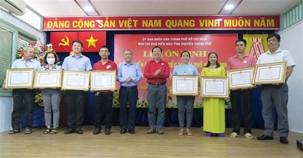 La Croix-Rouge de Ho Chi Minh-Ville rend hommage a des donneurs de sang exceptionnels hinh anh 1