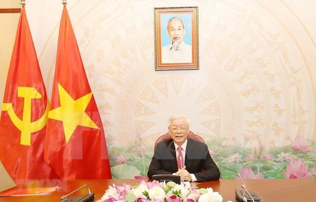 Le leader du PCV s'entretient par telephone avec le president russe hinh anh 1