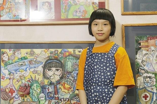 Un journal britannique loue une fillette vietnamienne peignant contre le COVID-19 hinh anh 1