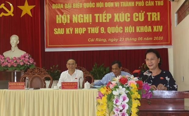 La presidente de l'AN Nguyen Thi Kim Ngan a l'ecoute des electeurs de Can Tho hinh anh 1