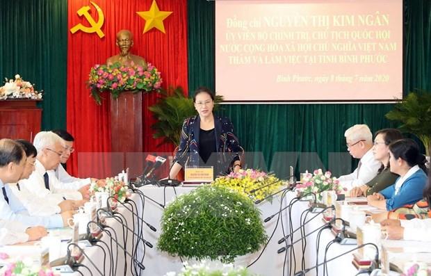 La presidente de l'AN exhorte Binh Phuoc a favoriser ses atouts pour promouvoir la croissance economique hinh anh 2