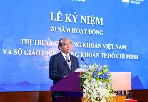 Le PM Nguyen Xuan Phuc sonne le gong pour les 20 ans du marche boursier hinh anh 1