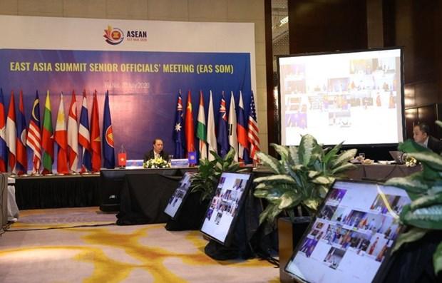 Visioconference des hauts officiels des 18 pays membres du sommet d'Asie de l'Est hinh anh 1