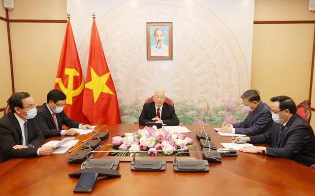 Le leader Nguyen Phu Trong s'entretient avec son homologue lao Bounnhang Vorachith hinh anh 1