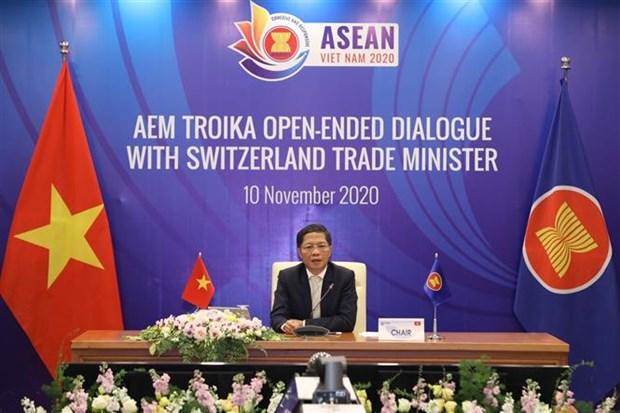 Dialogue virtuel entre les ministres de l'Economie de l'ASEAN et la Suisse hinh anh 1
