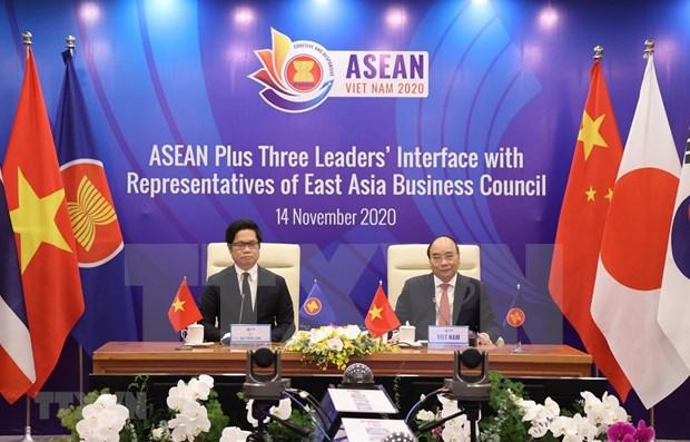 Dialogue des dirigeants de l'ASEAN + 3 pays avec des representants du Conseil d'affaires de l'Asie de l'Est hinh anh 1