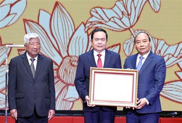Le dirigeant Nguyen Phu Trong assiste a la celebration des 90 ans du Front de la Patrie du Vietnam hinh anh 3