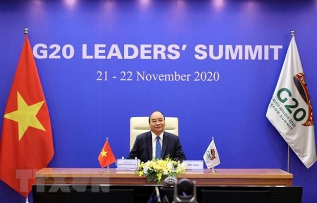 Le PM Nguyen Xuan Phuc s'adresse au Sommet virtuel du G20 hinh anh 1