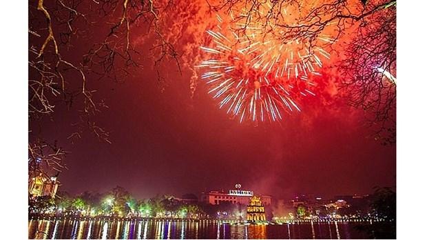 Hanoi tirera des feux d'artifice le soir du Nouvel An 2021 hinh anh 1