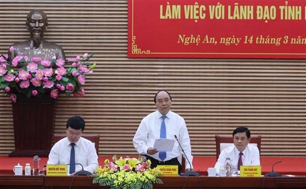 Le Premier ministre Nguyen Xuan Phuc en tournee a Nghe An hinh anh 1