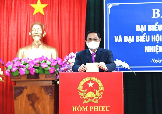 15es legislatives : le Premier ministre Pham Minh Chinh vote a Can Tho hinh anh 1