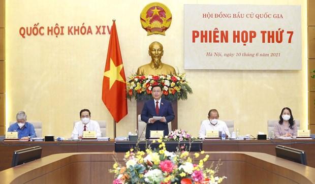 Le president de l'AN Vuong Dinh Hue preside la 7e reunion du Conseil electoral national hinh anh 1