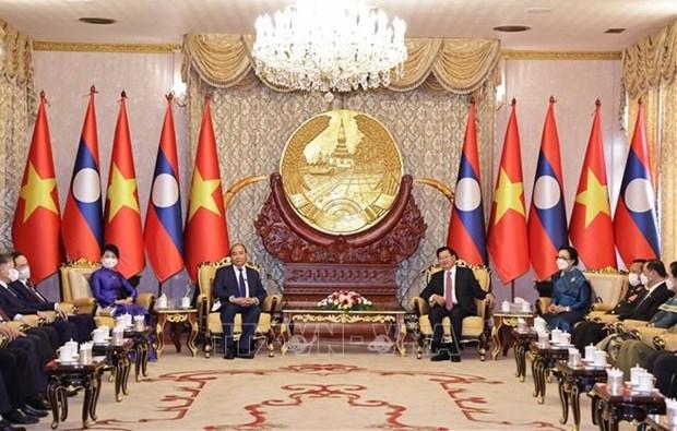La visite au Laos du president vietnamien ''enregistre des resultats complets et substantiels'' hinh anh 1