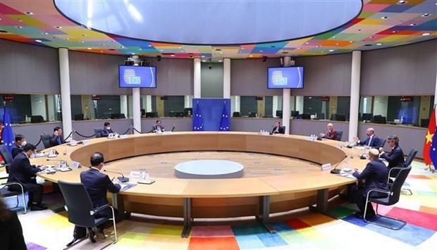 La presidente de l'AN Vuong Dinh Hue rencontre le president du Conseil europeen hinh anh 2