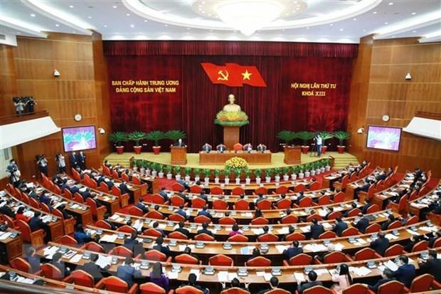 Premiere journee de travail du 4e Plenum du Comite central du Parti hinh anh 1