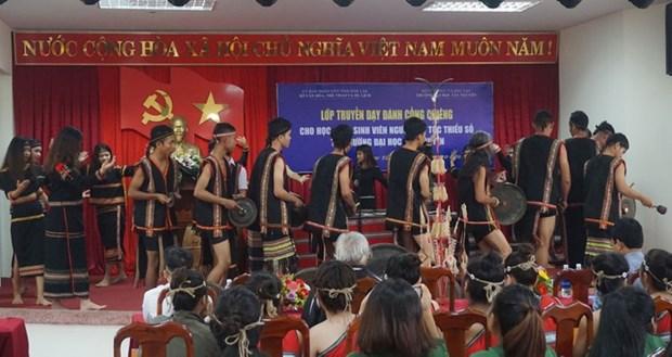 Dak Lak: quand la passion du gong est transmise aux etudiants hinh anh 1