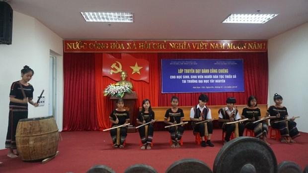 Dak Lak: quand la passion du gong est transmise aux etudiants hinh anh 2