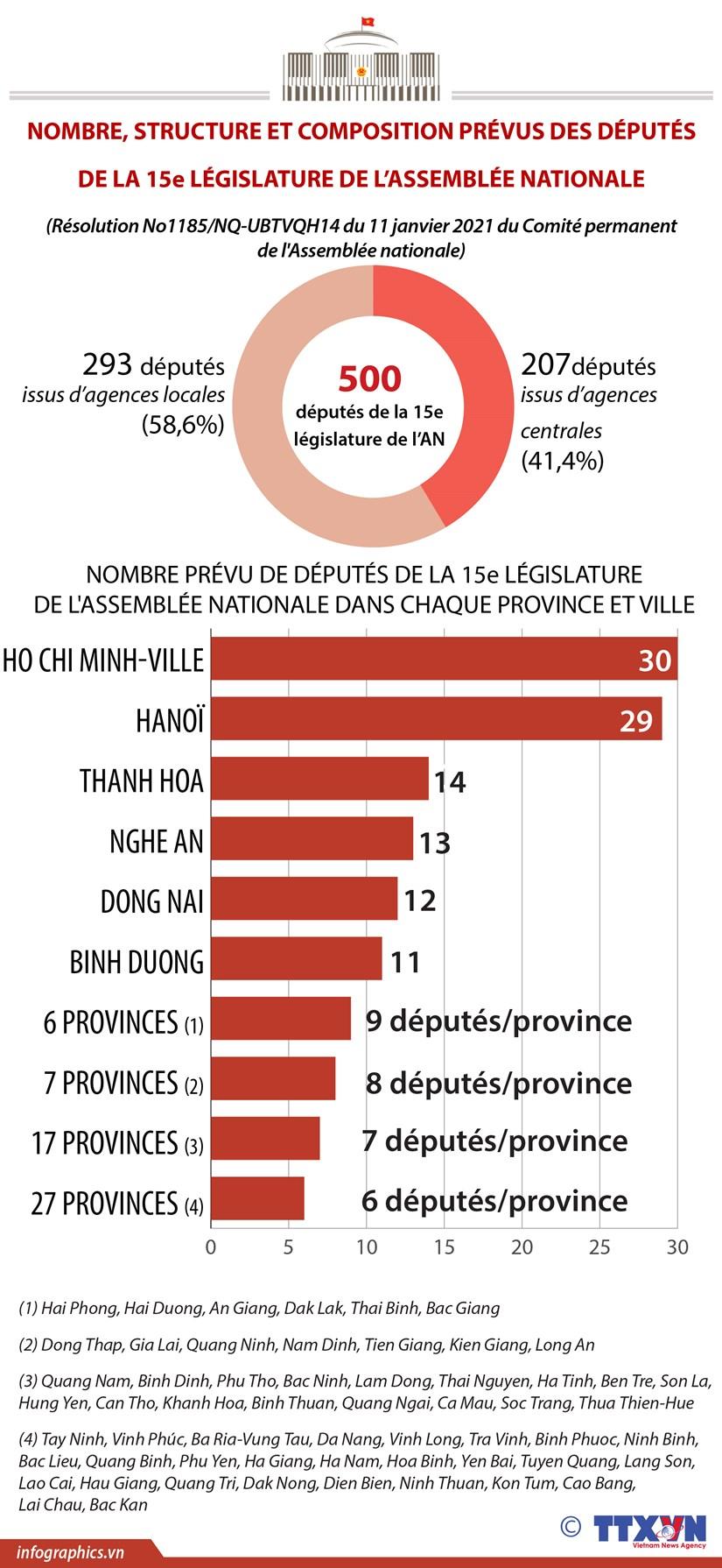 Nombre, structure et composition prevus des deputes de la 15e legislature de l'AN hinh anh 1