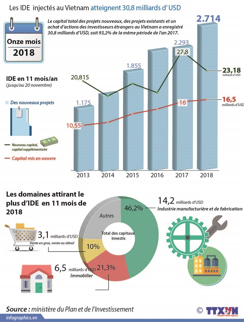 Les IDE injectes au Vietnam atteignent 30,8 milliards d'USD hinh anh 1