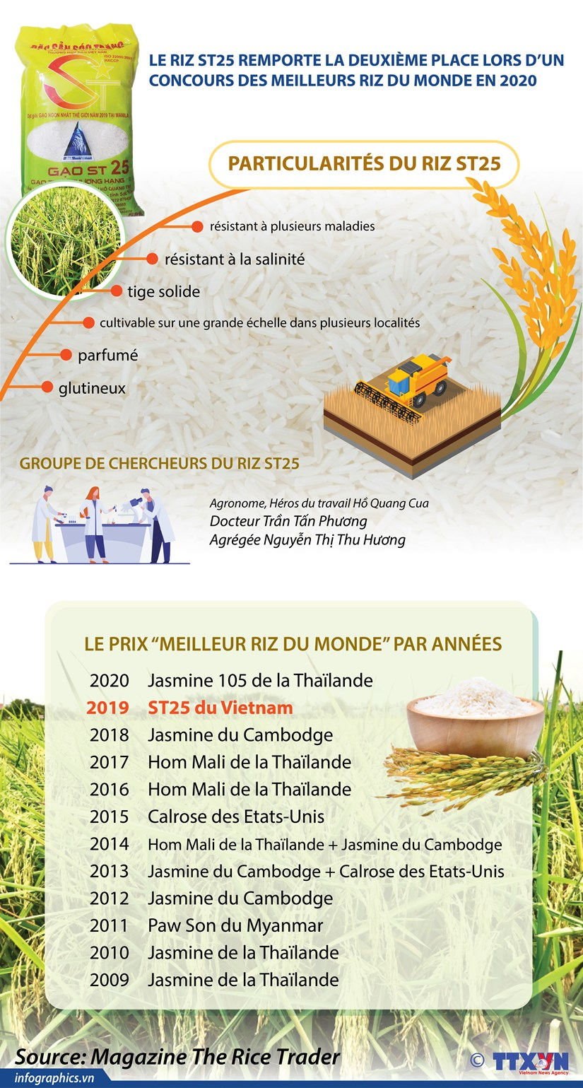 Le riz ST25 du Vietnam, deuxieme place lors d'un concours des meilleurs riz du monde en 2020 hinh anh 1