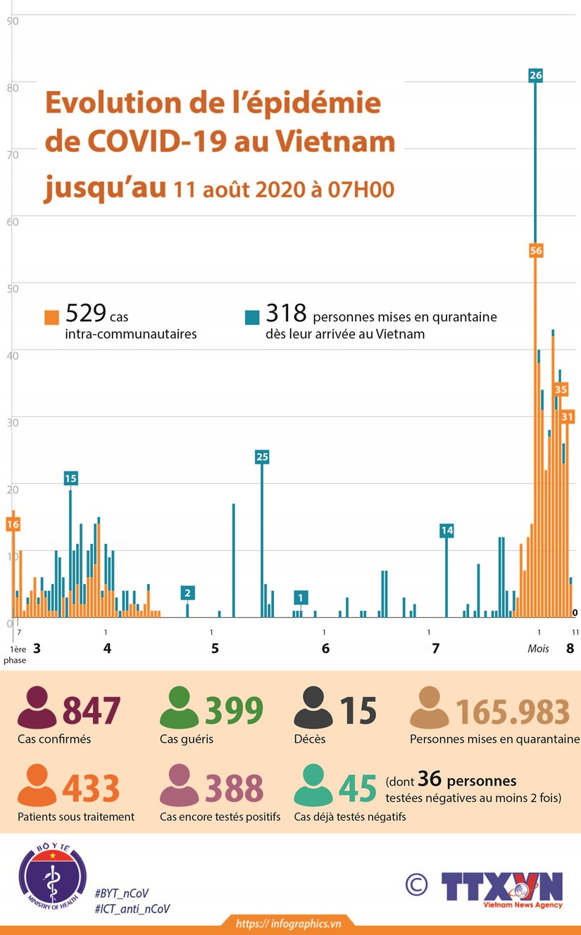 Evolution de l'epidemie de COVID-19 au Vietnam jusqu'au 11 aout 2020 a07H00 hinh anh 1