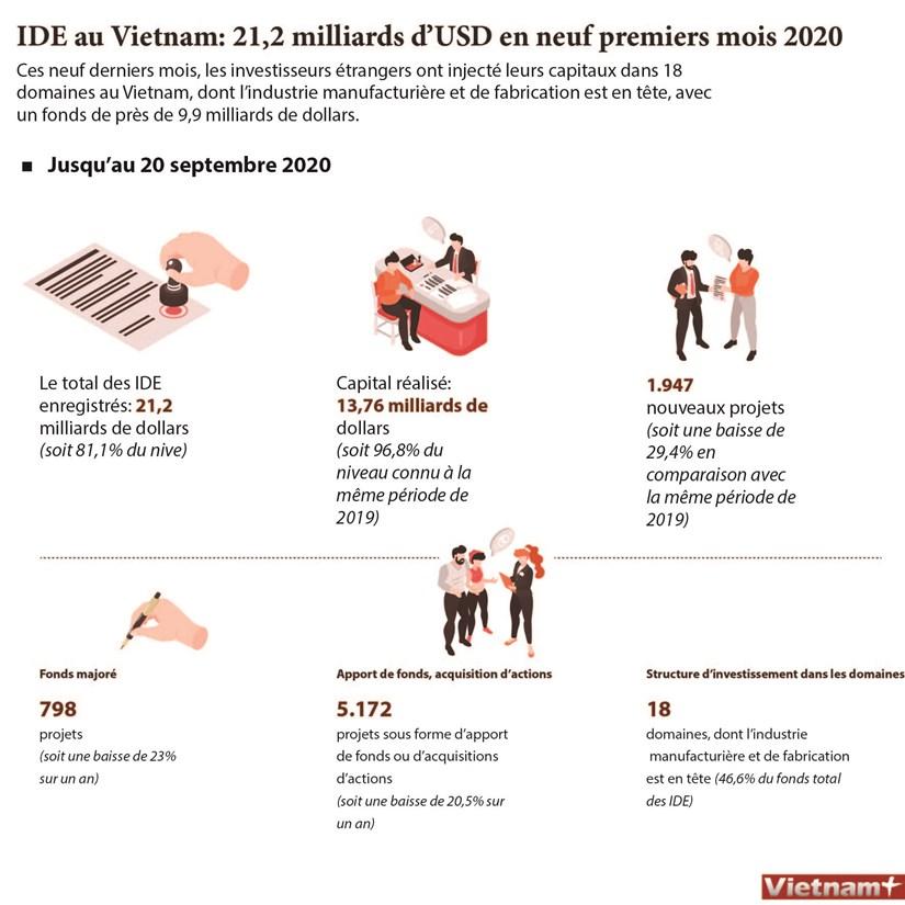 IDE au Vietnam: 21,2 milliards de dollars en neuf premiers mois 2020 hinh anh 1