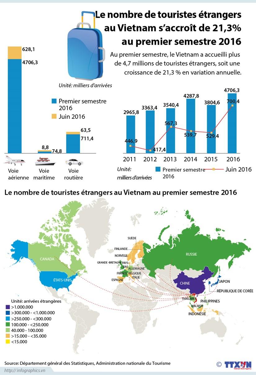 Le nombre de touristes etrangers au Vietnam s'accroit de 21,3% au premier semestre hinh anh 1