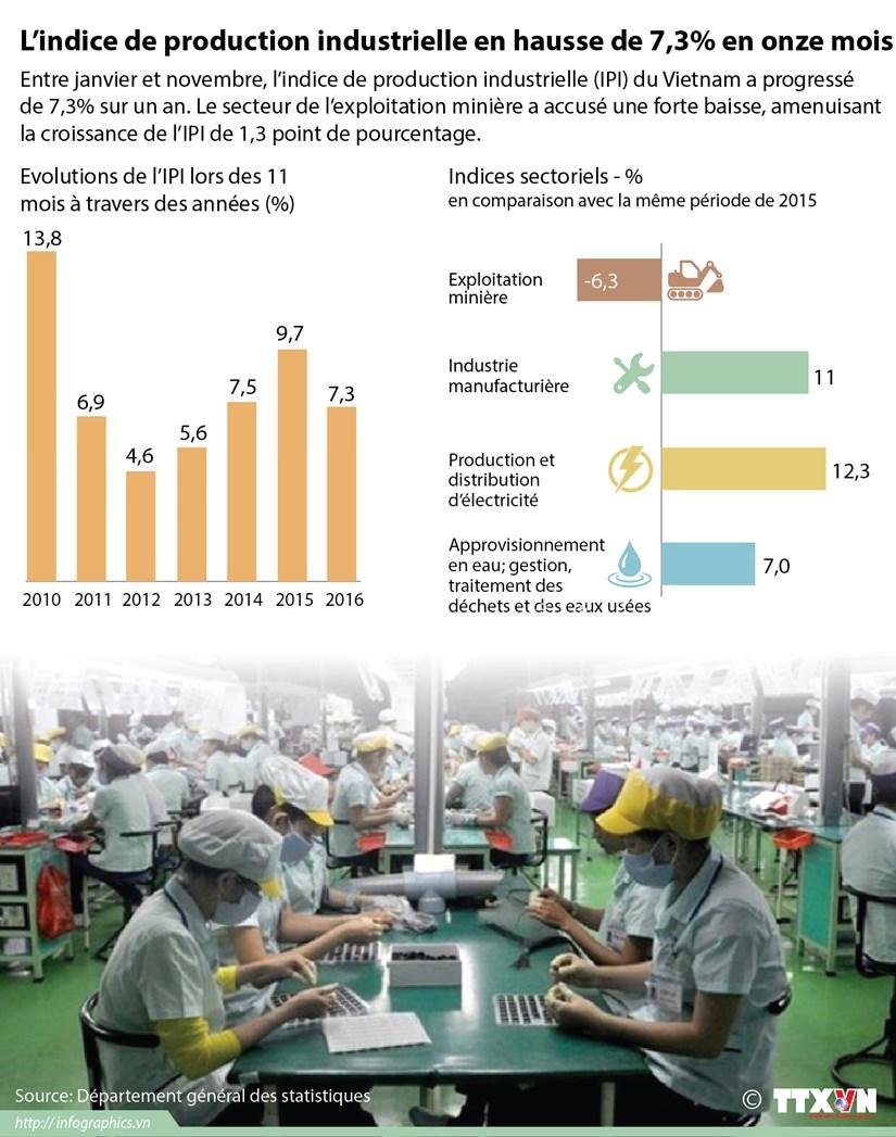 L'indice de production industrielle en hausse de 7,3% en onze mois hinh anh 1