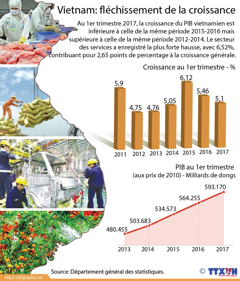 Flechissement de la croissance au premier trimestre 2017 hinh anh 1