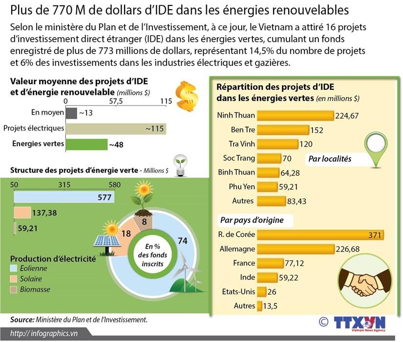 Plus de 770 M de dollars d'IDE dans les energies renouvelables hinh anh 1