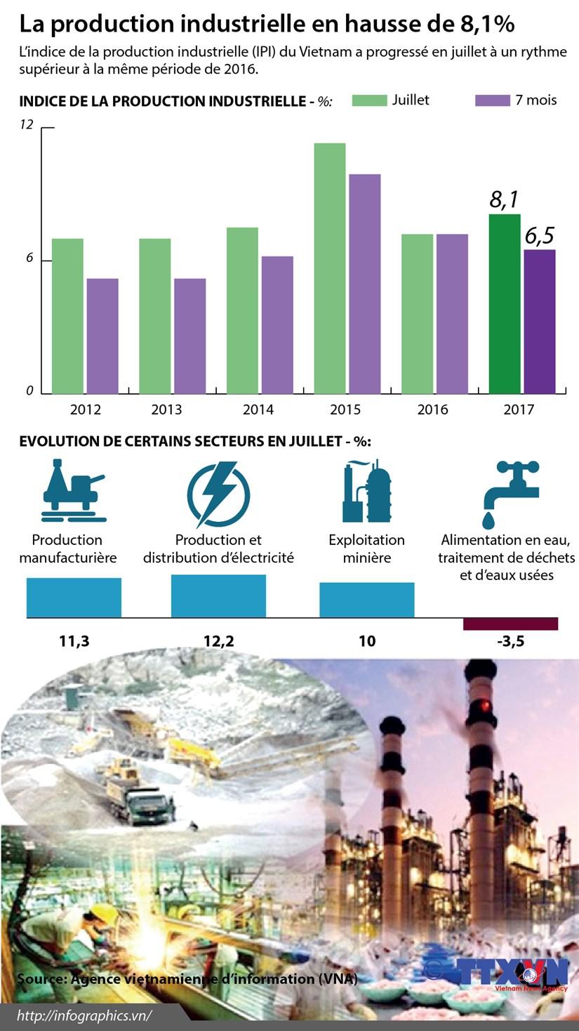 [Infographie] La production industrielle vietnamienne en hausse de 8,1% en juillet hinh anh 1