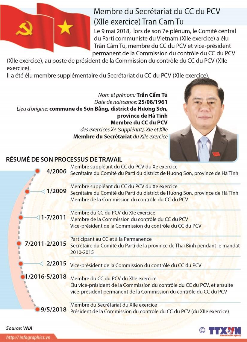 Membre du Secretariat du CC du PCV (XIIe exercice) Tran Cam Tu hinh anh 1