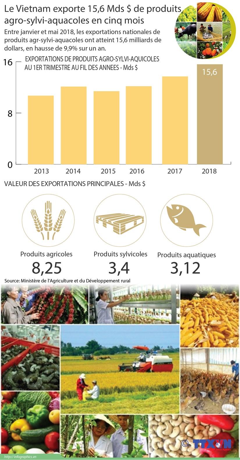 Le Vietnam exporte 15,6 Mds $ de produits agro-sylvi-aquacoles en cinq mois hinh anh 1