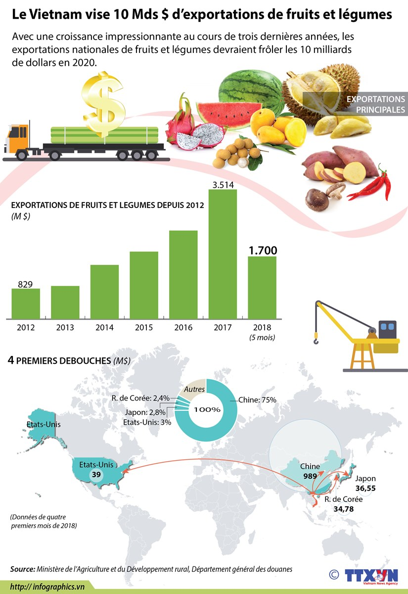 Le Vietnam vise 10 Mds $ d'exportations de fruits et legumes hinh anh 1