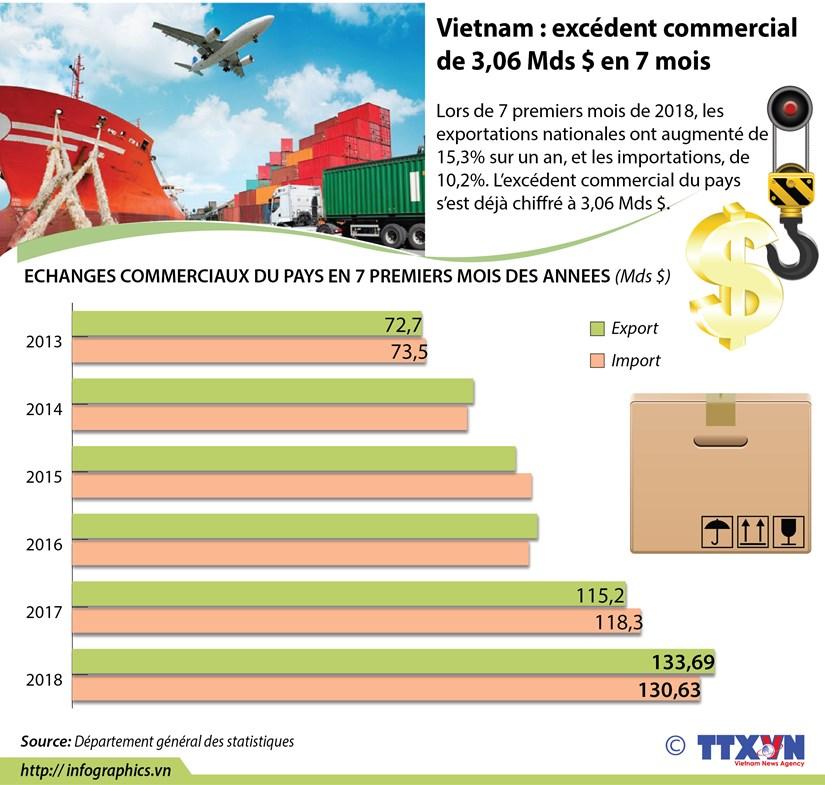 [Infographie] Vietnam : excedent commercial de 3,06 Mds $ en 7 mois hinh anh 1