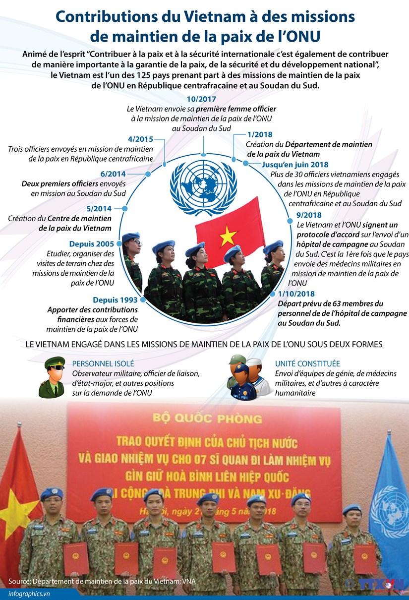[Infographie] Contributions du Vietnam a des missions de maintien de la paix de l'ONU hinh anh 1