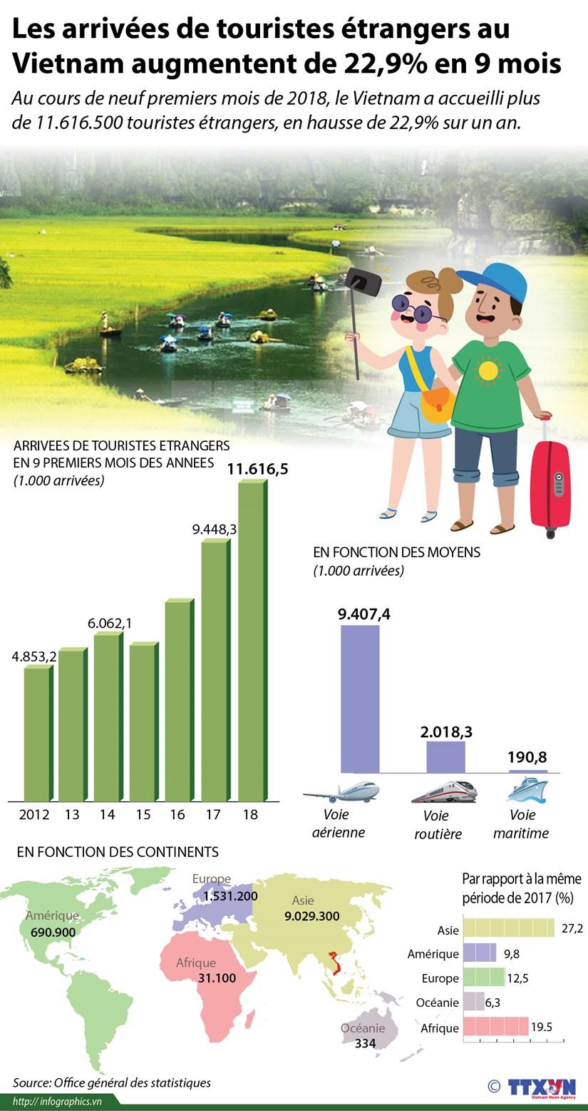 [infographie] Les arrivees de touristes etrangers au Vietnam augmentent de 22,9% en 9 mois hinh anh 1