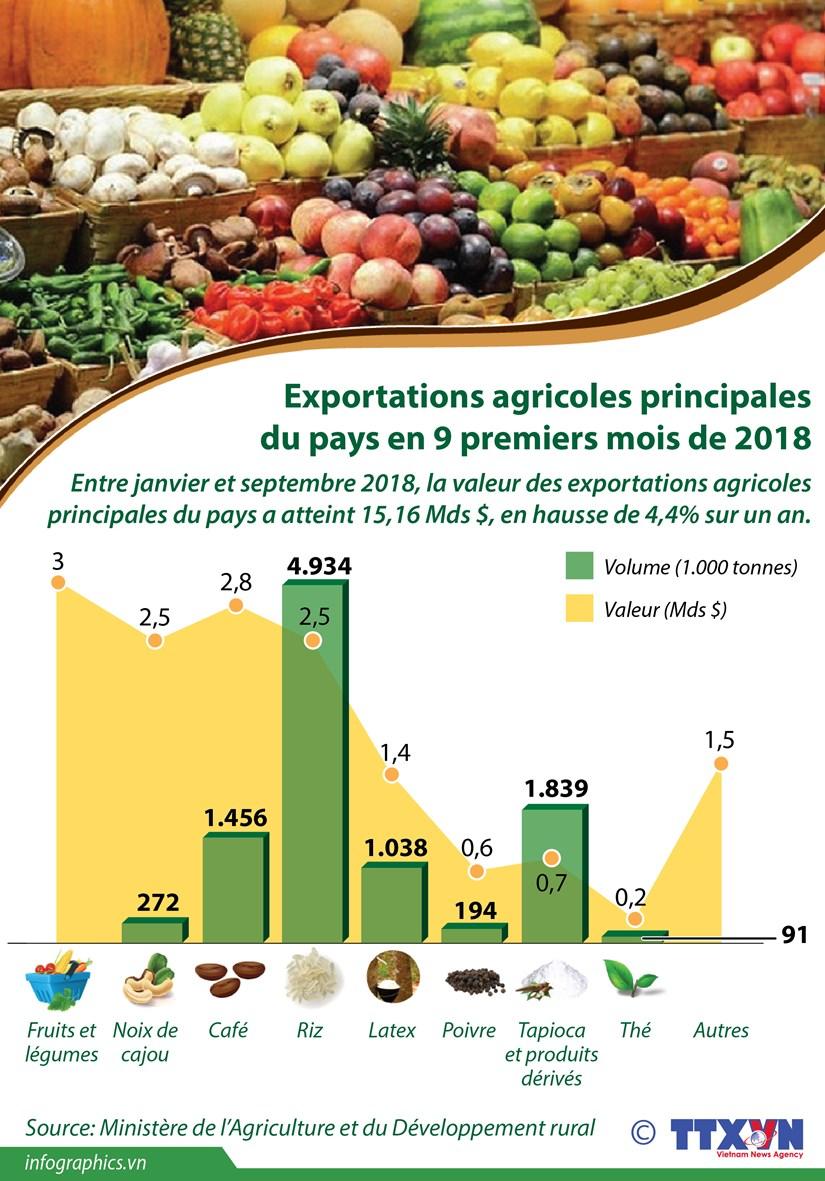 [Infographie] Exportations agricoles principales du pays en 9 premiers mois de 2018 hinh anh 1