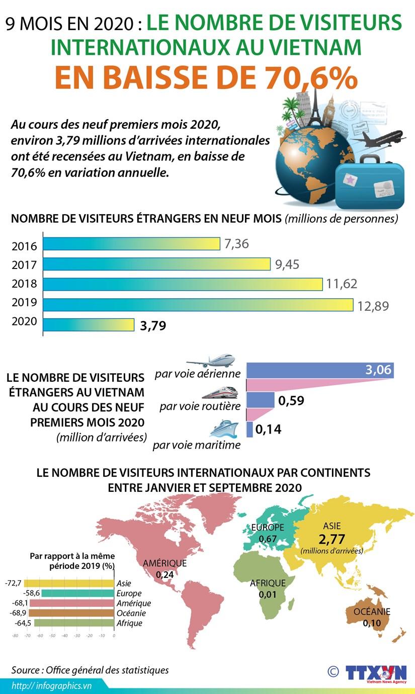 9 mois : le nombre de visiteurs internationaux au Vietnam en baisse de 70,6% hinh anh 1