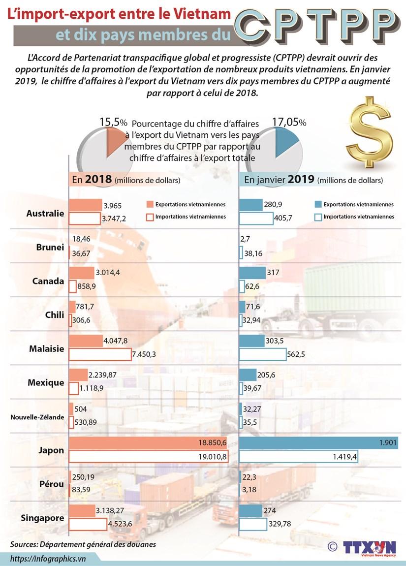L'import-export entre le Vietnam et dix pays membres du CPTPP hinh anh 1