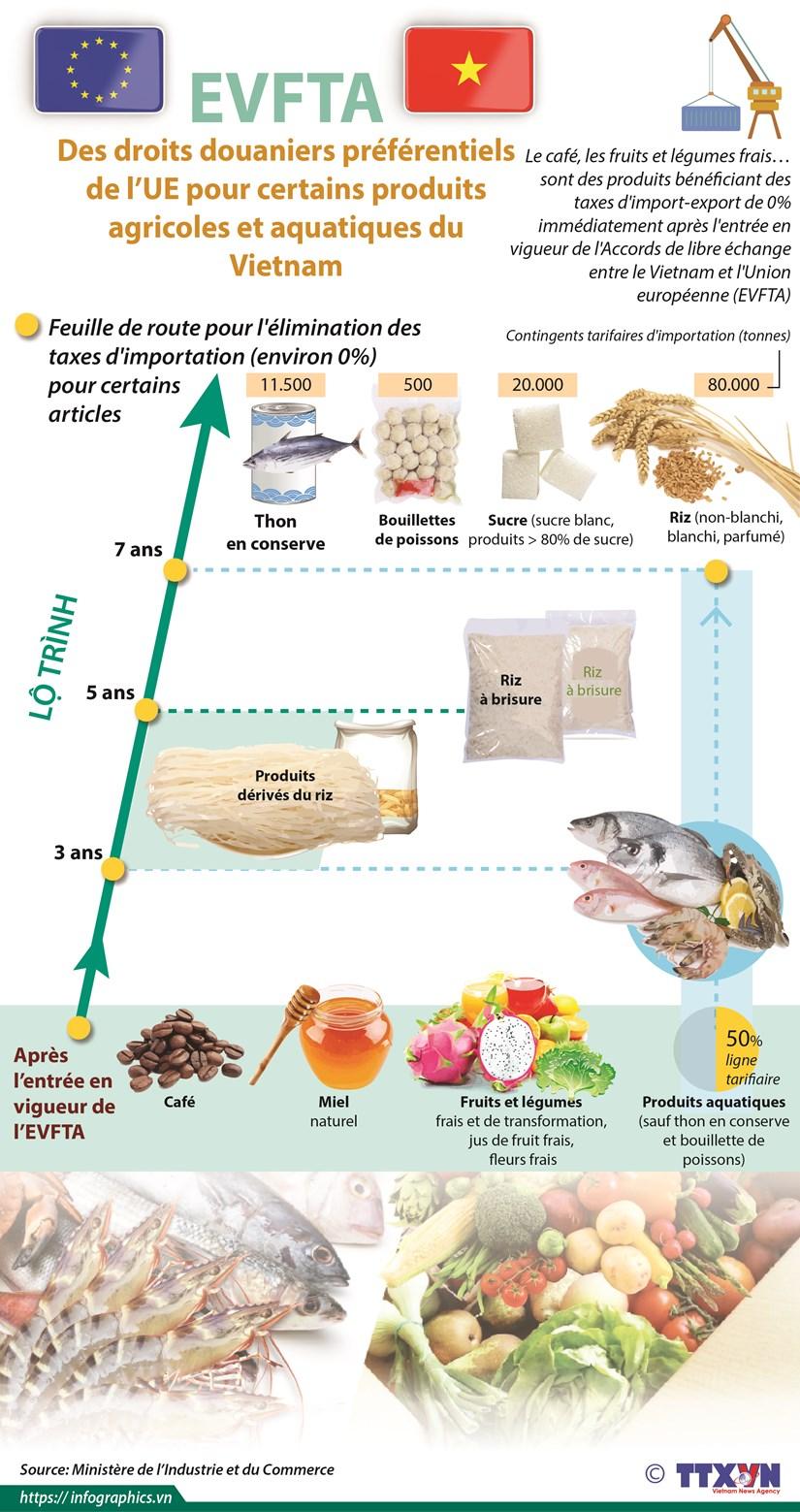 EVFTA: Des droits douaniers preferentiels de l'UE pour produits agricoles et aquatiques du Vietnam hinh anh 1