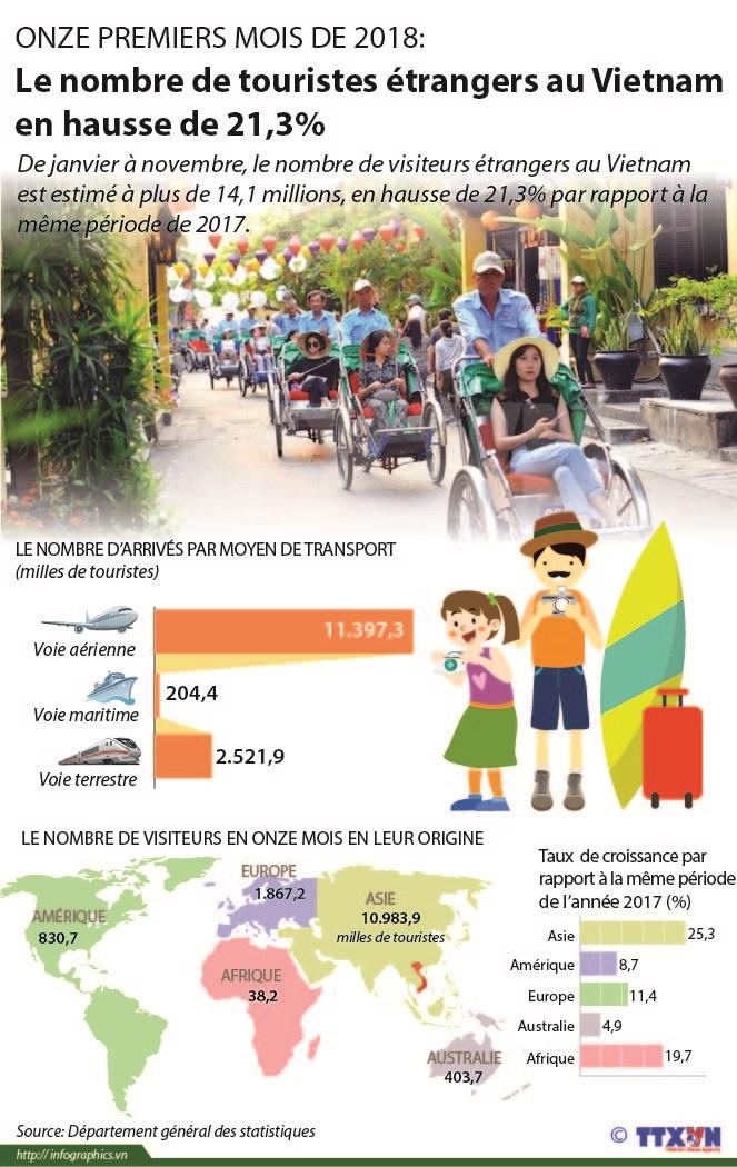 Le nombre de touristes etrangers au Vietnam en onze mois en hausse de 21,3% hinh anh 1